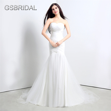 GSBRIDAL Mermaid Strapless Sweetheart Ruched Back Lace Up Bridal Wedding Gown