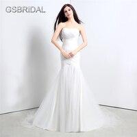 GSBRIDAL Mermaid Strapless Sweetheart Ruches Back Lace Up Bruids Bruidsjurk