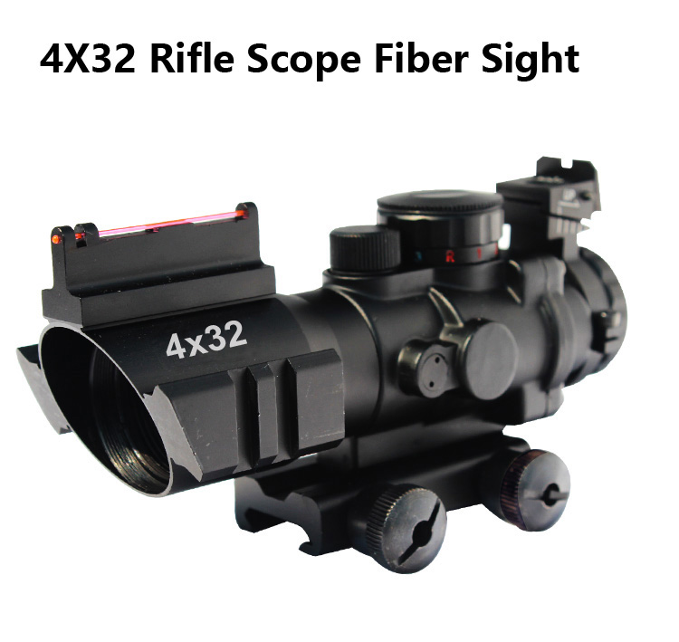 4 x 32 Fixed Power optic rifle scope with Fiber Tactical rifle Sight and Weaver Slots - Red, Green, Blue Illumination hunting 4 x 32 compact rifle scope fiber sight red dot scope with fiber optic sight for 20mm rail ulitity