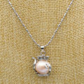 Selling   Charming natural 12-14 mm pink Baroque pearl pendant necklace 17 ""