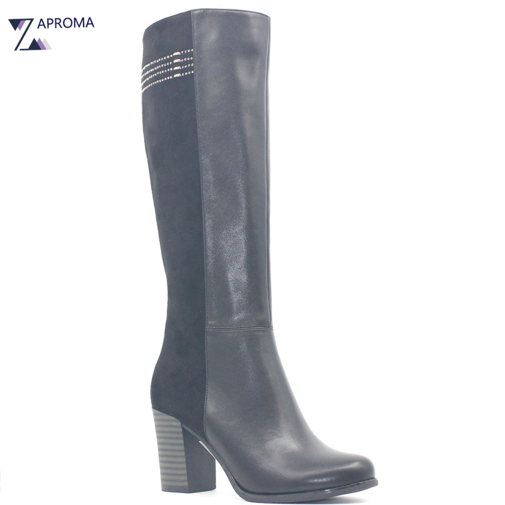 Metal Decoration Black Winter Chunky Heel Women Boots Super High Heel Suede PU Platform Knee High Shoe Zipper Hoof Heel Boot high quality suede boots women ankle strap chunky heel black brown fleeces buckles pu shoes winter high heel knee high punk shoe