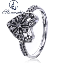 Slovecabin 2017 Autumn Fine Jewelry 925 Sterling Silver Snowflake Wedding Ring For Women Clear Stone Heart Ring Wholesale Anillo