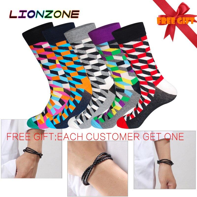 LIONZONE 5Pairs/Lot Fashion Free Shipping Combed Cotton Brand New Men Socks Colorful Dress Socks Wedding Sock Business Sock