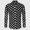 Black White Polka Dot Shirt Men Cotton Linen Dot Casual Shirt Male Social Long Sleeve Slim Fit Back To School Styling
