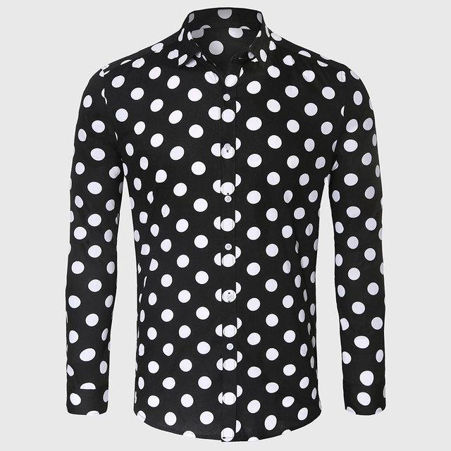 Negro Lunar Blanco Camisa de Los Hombres de Algodón de Lino de Punto Casual camisa Masculina Sociales Slim Fit Manga Larga de Nuevo A La Escuela Styling