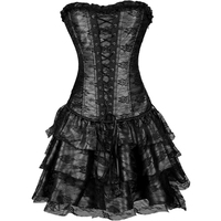 Sexy Women's Vintage Steampunk Corset Dress Gothic Corset Top Burlesque Lace Corset and Bustiers Party Dress