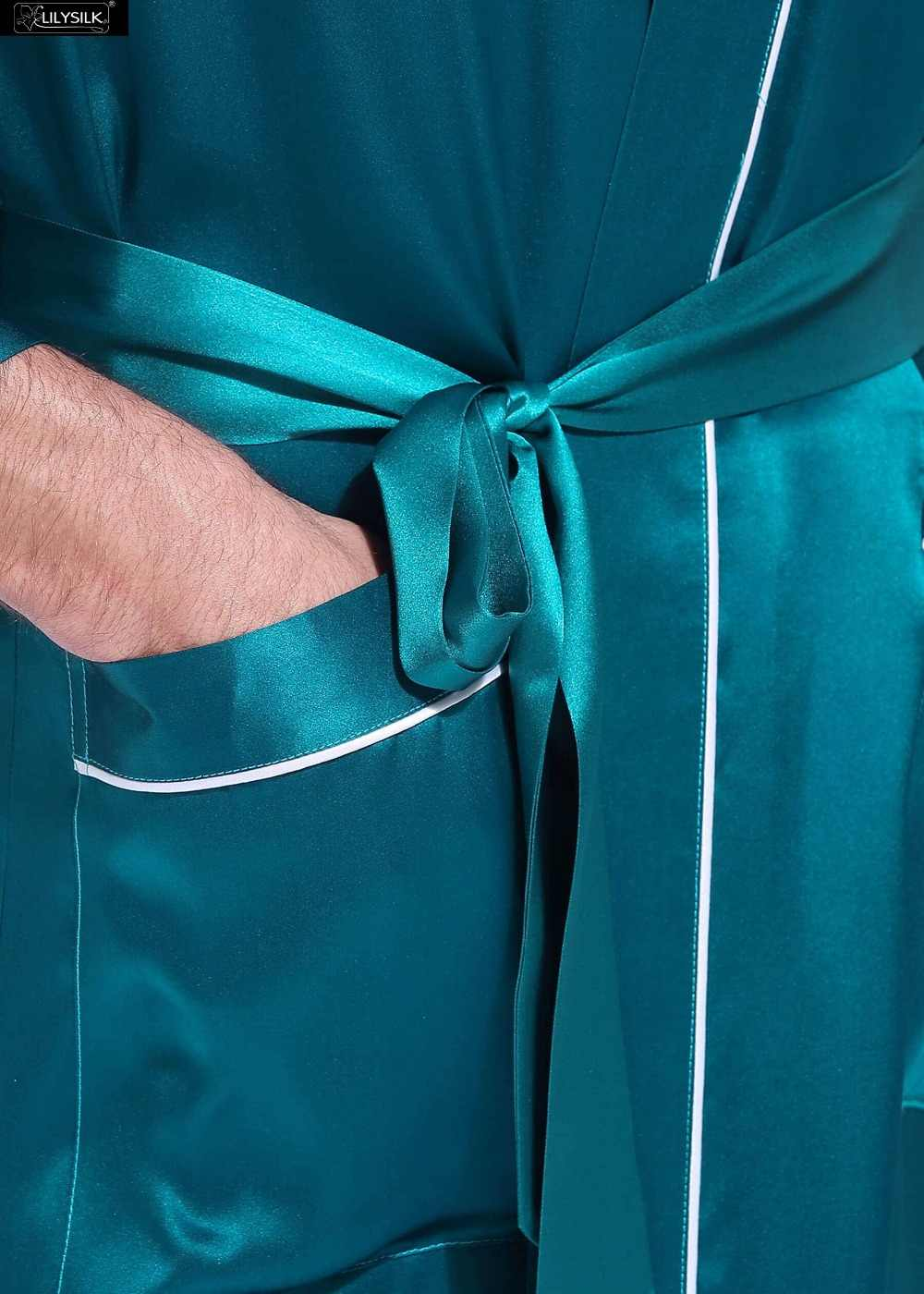 LilySilk ローブバスローブパジャマ着物男性正絹白 3 分袖ポケットクリアランス販売送料無料トリミング