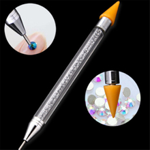Dual-ended Nail Art Wax Pen Dotting Pick Up Rhinestone Crystal Bead Gem Brush Tool Manicure Self Adhesive Tips Acrylic Gel