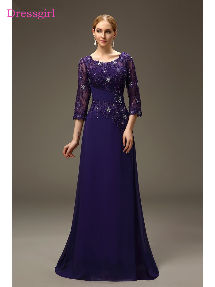 Plus Size 2019 Mother Of The Bride Dresses A-line 3/4 Sleeves Chiffon Lace Beaded Long Elegant Groom Mother Dresses Wedding