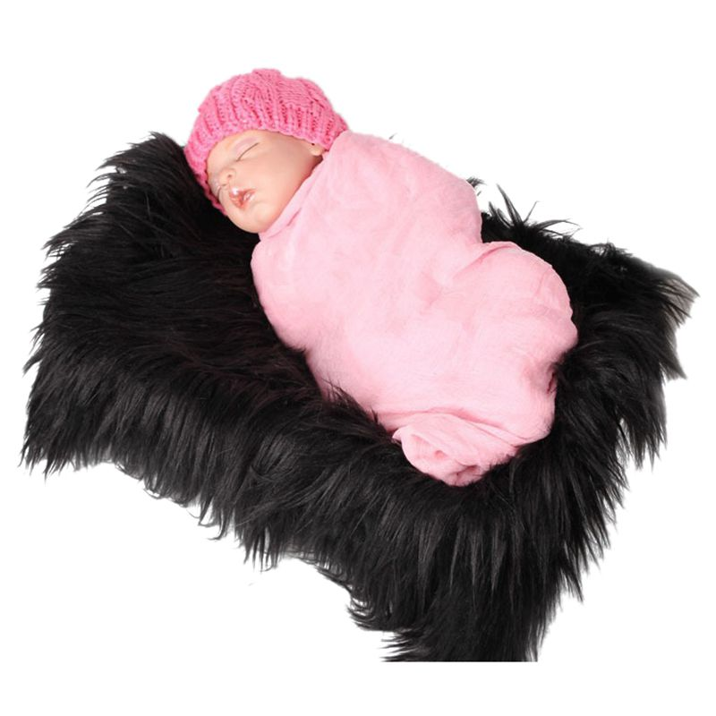Baby Newborn Faux Fur Photography Photo Props Blanket Basket Stuffer Rug Beanbag Background Backdrop Black