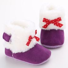 New Baby Girl Fall Winter Warm Wear Shoes Kids Baby Infant Girl Princess Butterfly-Knot Hairy Boots