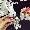 Llaveros baratija Mini Pompón De Piel De Conejo Mujeres fluffy Bunny conejo de Juguete Muñeca Bolsa de Coche Monstruo Llavero Llavero Joyería regalo