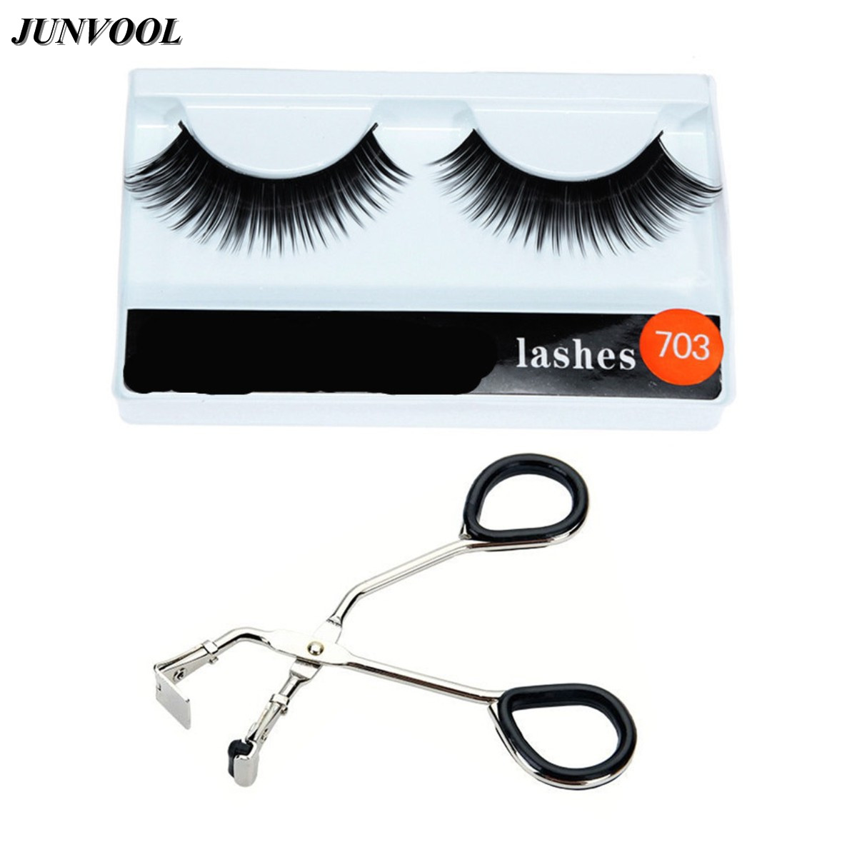 1 Pair False EyeLashes Thick Black False Eyelash Makeup Tips Natural Long Fake Eye Lashes + 1Pcs Mini Eyelashes Curler ...