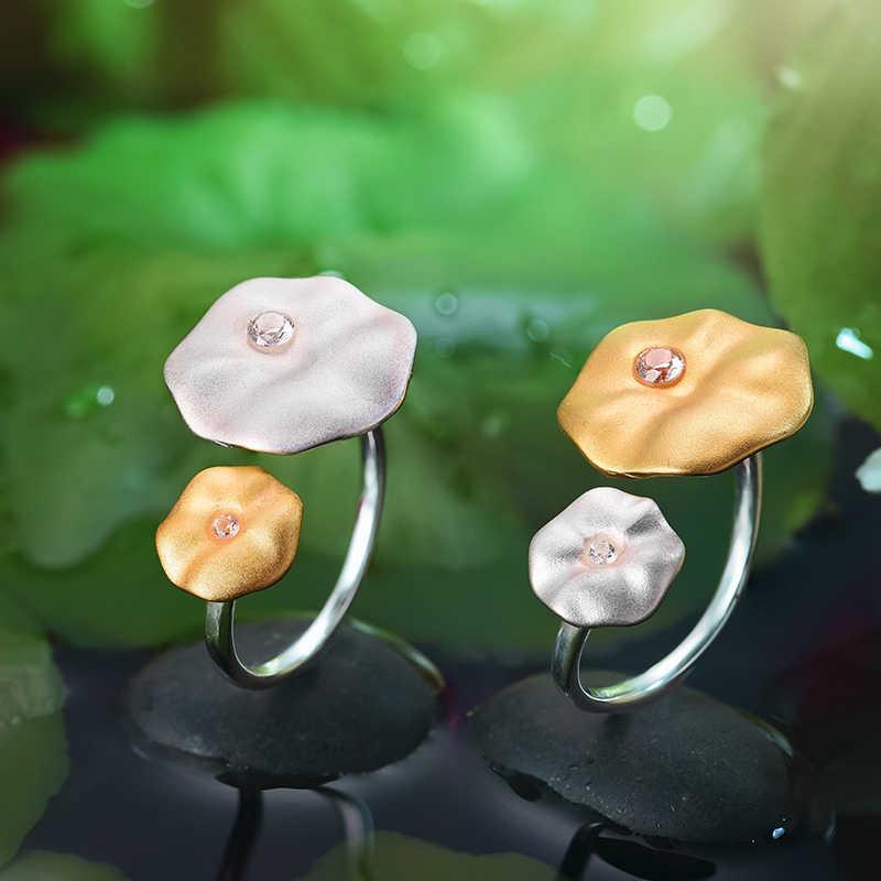 Lotus สนุกจริง 925 เงินสเตอร์ลิงธรรมชาติอัญมณี Handmade Designer เครื่องประดับ Fine Morning DEW โลตัสใบแหวน