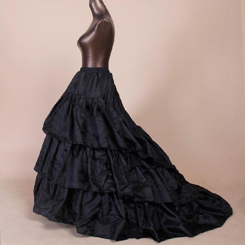 In Stock White Black New 2 Hoop Black Train Wedding Petticoat Bridal Crinoline Underskirt Slip