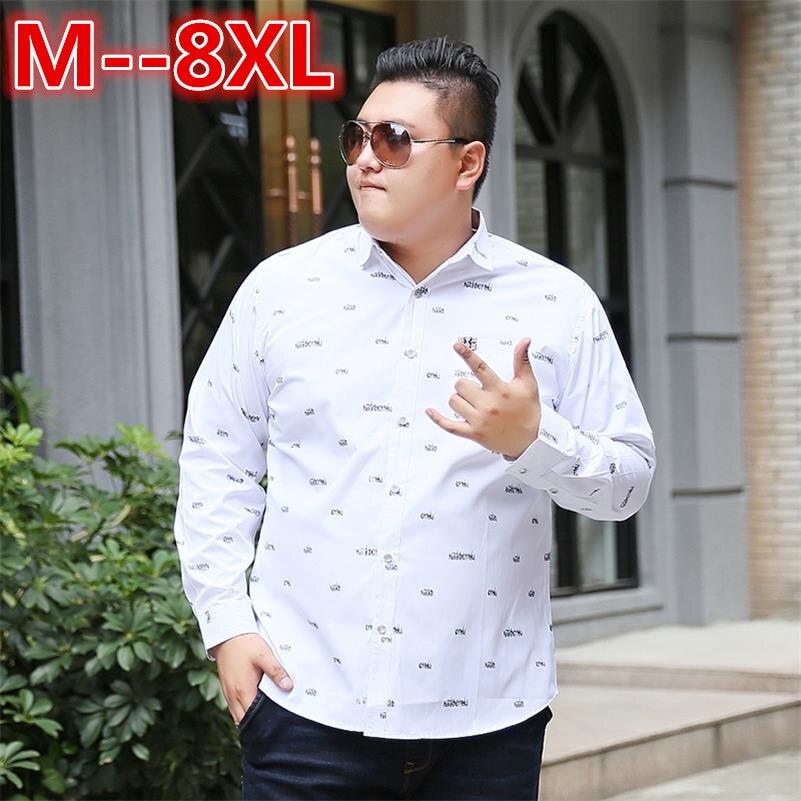 plus size 10XL 8XL 6XL 5XL Mens Shirt Brand 2018 Male Long Sleeve Shirts Casual Hit Color Loose Fit Solid Color Men Dress Shirts