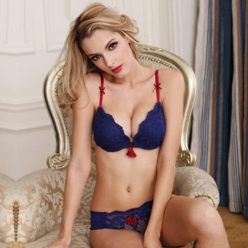 Σέξυ γυναικεία σουτιέν σετ σουτιέν με χοντρό δαντελωτό παντελόνι βαθιά V-λαιμόκοψη σέξι συν μέγεθος γυναικείο σετ 3/4 φλιτζάνι μπουφάν με κέντημα