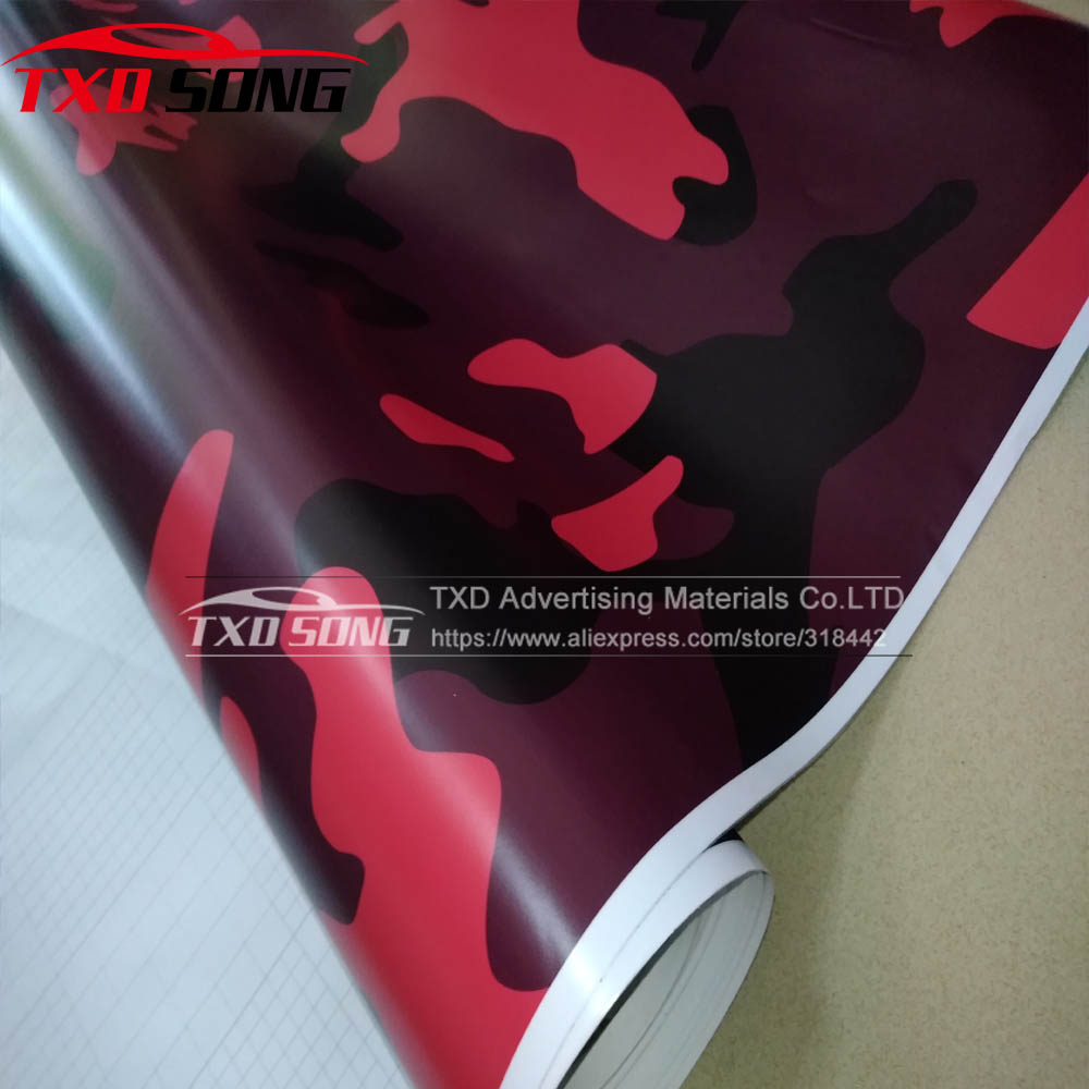 Film d'enveloppe de vinyle de Camouflage rouge grande Texture pour décalcomanie de style de voiture vinyle de Camouflage noir rouge pour SUV MINI camion Camouflage de style de voiture