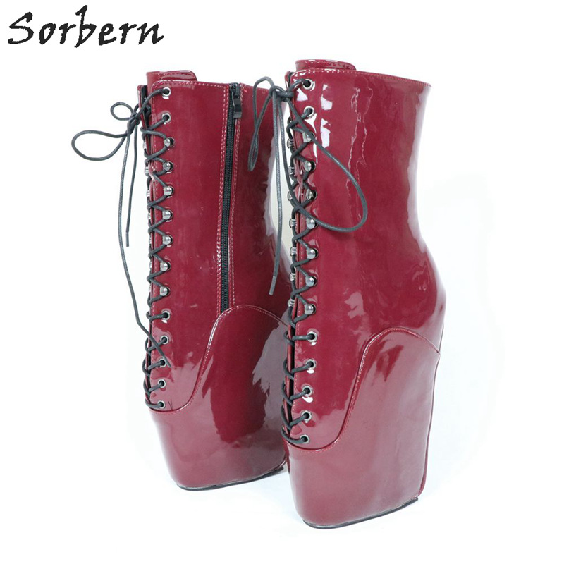 372e6970659 Sorbern Wine Red Ballet Wedge Heels Boots Women Runway Shoes Women 2019  Bootie Heels Bdsm Beginners Shoes Comfortable Boots-in Ankle Boots from  Shoes on ...