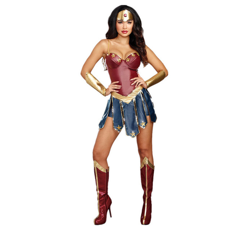 Halloween 2018 Wonder Woman Costume Gal Gadot Fantasia Hero Cosplay Bodysuit Outfit Size S-2XL Halloween Costumes For Women