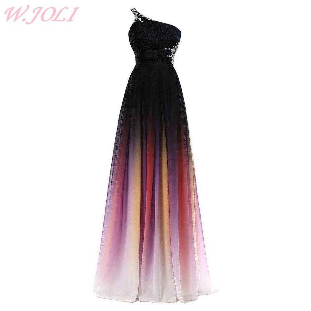 W.JOLI Long   Evening     Dress   Elegant Crystal Pleat Bride Banquet Backless One-Shoulder Floor-length Prom Gown Wedding Party   Dress