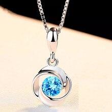 Синий кристалл кулон Женская мода циркон ретро S925 Серебряное колье colgante Сапфир ювелирные изделия bizuteria Кулон драгоценный камень