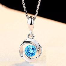 Pendentif en cristal bleu pour femme, collier de couleur argent, zircon, S925