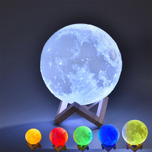 Rechargeable 3D Print Moon Lamp With Romote Control 16 Color touch control LED Nigh Light Bedroom Bookcase Decor Creative Gift
