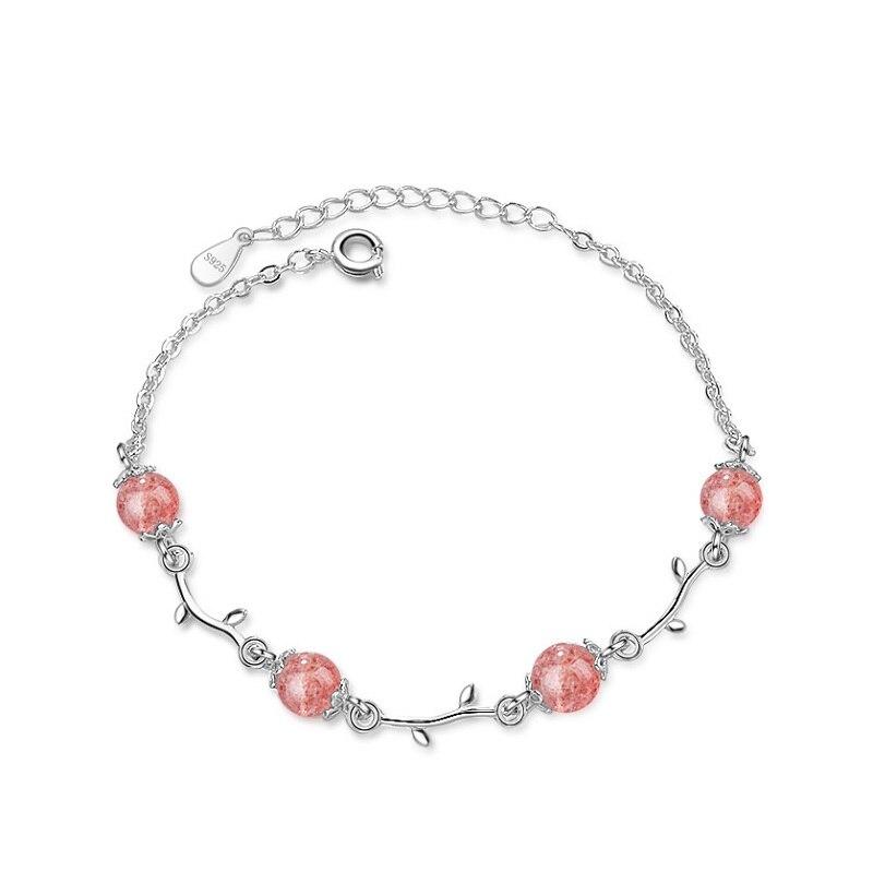 Mode bijoux chaîne lien Bracelet pour charmante femme véritable 925 Sterling argent Bracelet amitié cadeau belle couleur rose