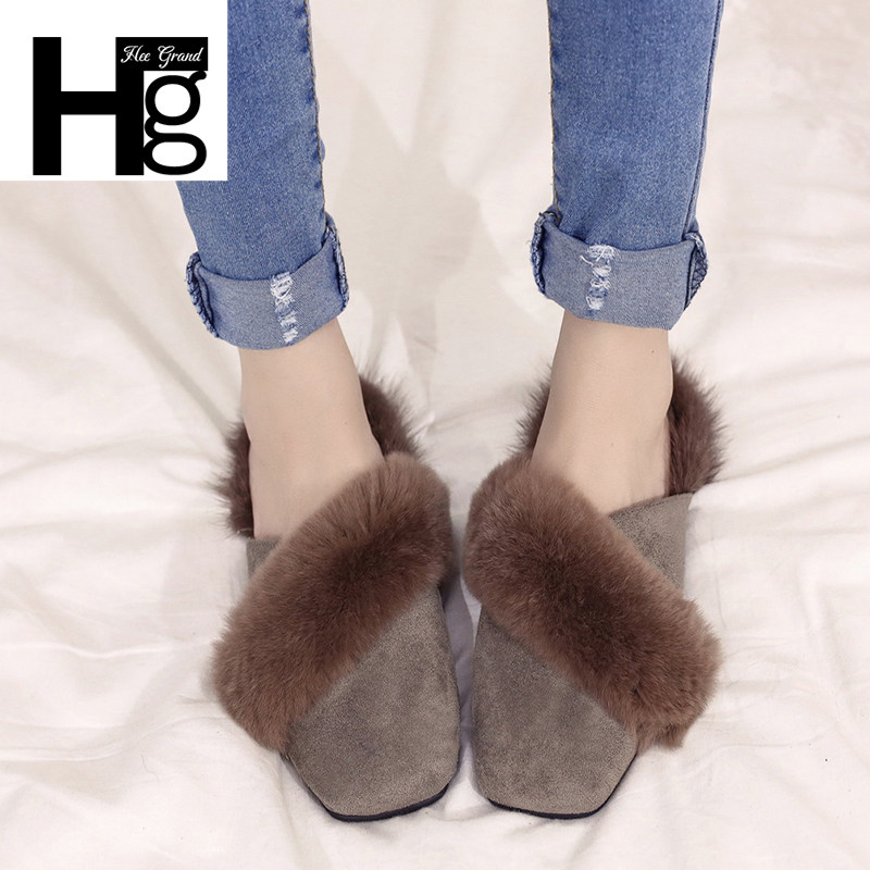 HEE GRAND Women Winter Slippers Flock Fashion Plush Shoes Women Faux Fur  Slip On Girl Lady 76fdb32b4ef6