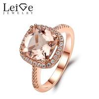 Leige Jewelry Morganite Ring 14K Rose Gold Morganite Engagement Rings For Women Cushion Cut Pink Gemstone