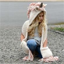 Bentoy Sombrero de unicornio para niñas de 3 a 10 años, bufanda de invierno, sombrero para niños hecho a mano, gorros de unicornio, bufandas de lana cálidas para niños