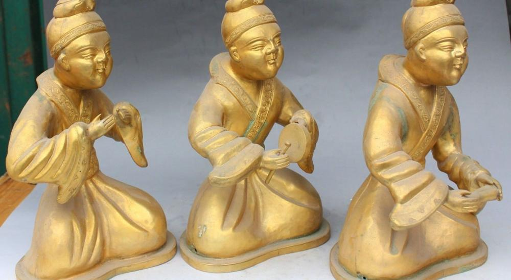 11 Chinese Folk Brons Gild Seat Belle Beauty Muziekinstrumenten Qin Standbeeld Set - 6