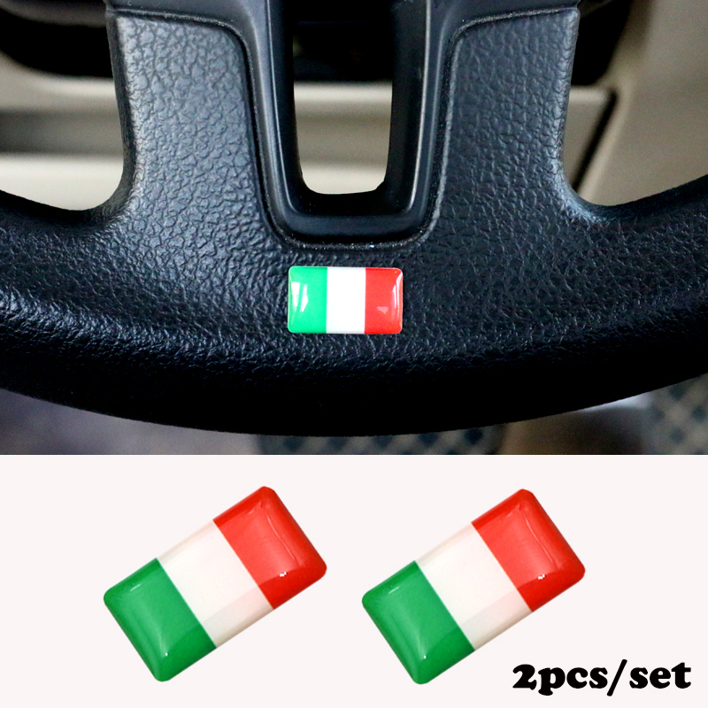 2pcs/set Steering wheel 3D Epoxy Car Styling fit for Toyota avensis Corolla Camry RAV4 Car Sticker Italy National Emblem cool color gradient car body garland car waistline styling sticker for toyota corolla avensis and so on