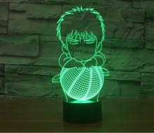 Новый Rukawa Kaede красочный визуальный стерео свет сенсорный выключатель LED акриловые подарок лампа Usb Led 3d Лампа Usb Led