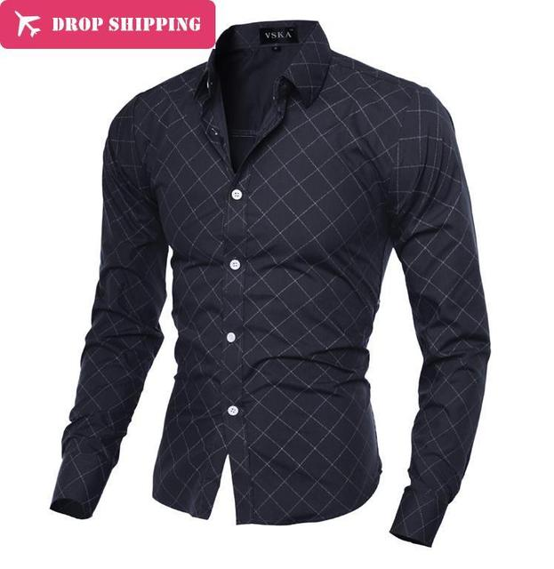 2016 Dropshipping Camisa Masculina 2017 мужская Мода Slim Fit Повседневная Рубашка С Длинным Рукавом Рубашки Печати Мужчины Рубашку, азиатский Размер