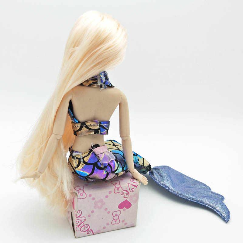 Traje de Cosplay de alta calidad azul, ropa de sirena colorida para muñeca Barbie, sujetador y falda de cola de pez, vestido para muñeca BJD 1/6