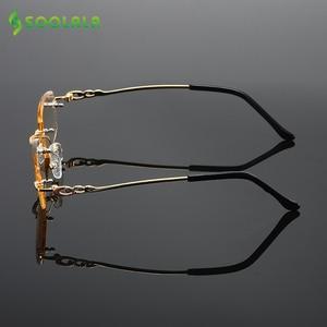 Image 2 - Soolala Strass Anti Blauw Licht Leesbril Vrouwen Diamant Snijden Randloze Bril Mannen Golden Reader Verziend Brillen