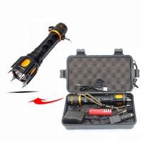 Litwod 07z30 LED Flashlight Torch Four Attack Head Audible Alarm Lampe Torche 3800LM T6 Waterproof Flash Light Self Defense