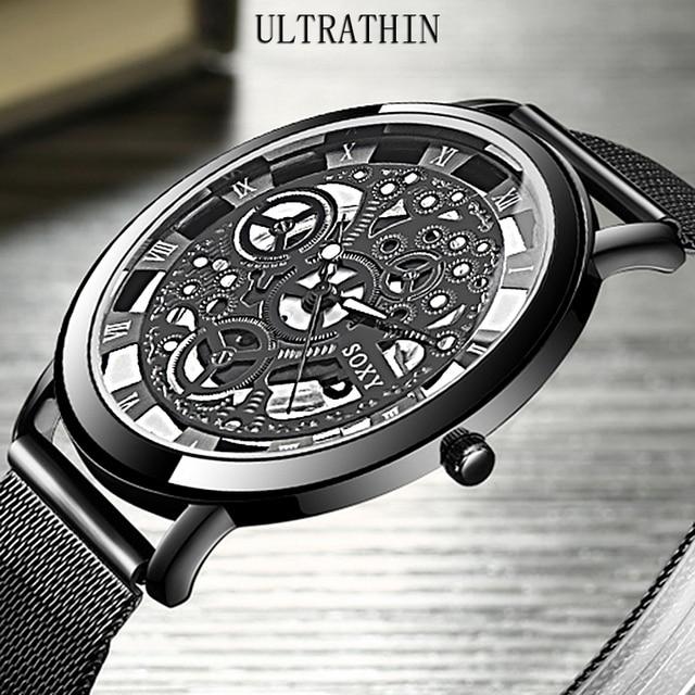 06c3af6f6f0 SOXY Cinto de Malha de Relógio de Pulso Homens Mulheres Unisex Quartz Relógios  Fashion Designer Oco