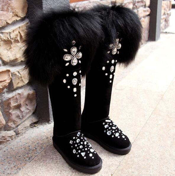 Abesire/новые зимние женские пикантные теплые зимние сапоги на меху без шнуровки, женские сапоги до колена с круглым носком на плоской подошве,