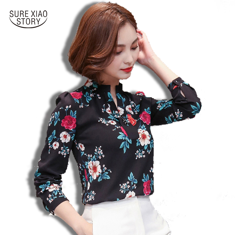 Women Ladies Female Elegant Shirt Top 2018 New Chiffon Blouse Shirts Print Plus Size Loose Elegant Office Ladies Blouses 66H 30