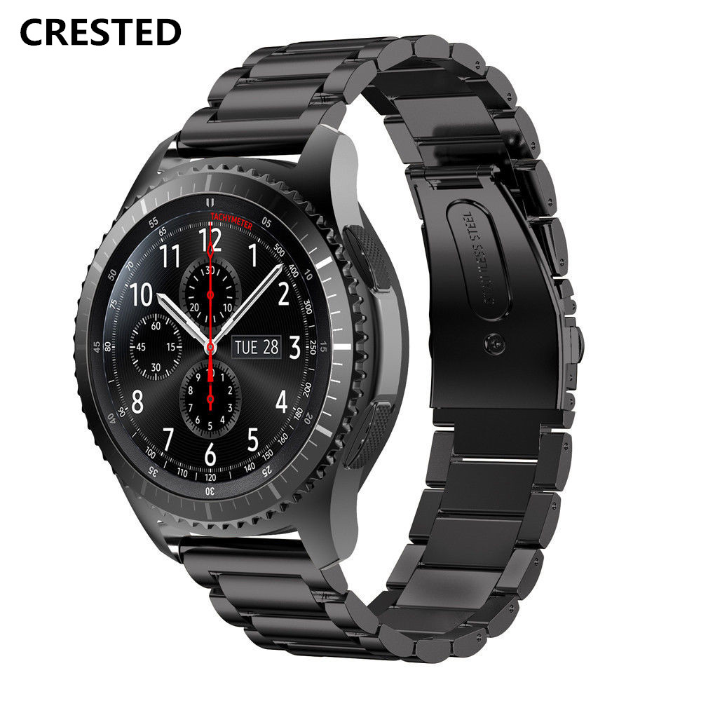 CRESTED Watch Band for Samsung Gear S3 Classic/Frontier strap Stainless Steel Link bracelet Replacement Wristband watchband belt silicone sport watchband for gear s3 classic frontier 22mm strap for samsung galaxy watch 46mm band replacement strap bracelet