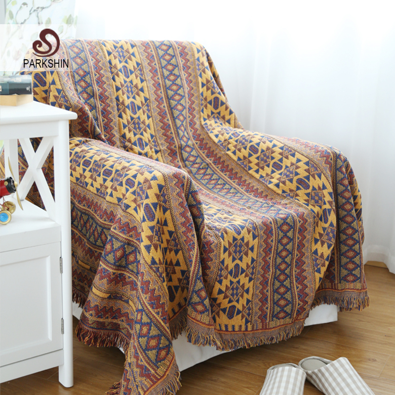 Parkshin High Quality Blanket 100% Cotton Bohemian Knitted Bedspread For Sofa/Bed/Home 130cmX180cm Blanket