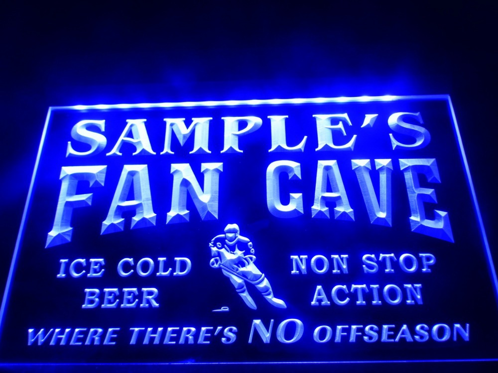 Light Up Signs Custom: DZ067 Name Personalized Custom Hockey Fan Cave Bar Beer