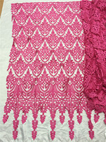 2017 New Design Pink Color Cord Embroidered Lace Fabric Water Soluble Lace Material High Quality Embroidered