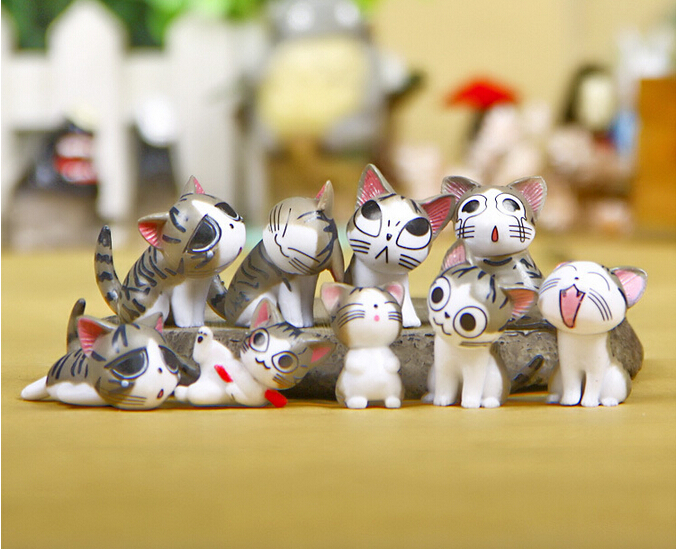(9pcs/set) Cheese cat miniature figurines toys cute lovely Model Kids Toys 3cm PVC japanese anime children figure world image