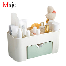 Msjo Makeup Box Organizer Jewelry Necklace Nail Polish Earring Plastic Storage Box Home Desktop Organizer For Cosmetics