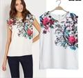Mulheres No Topo Da Moda 2015 Chiffon Blusa Para As Mulheres Roupas Sem Mangas Blusas Camisas Da Cópia Da Flor Do Vintage camisa feminina AE129