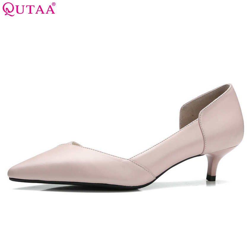 QUTAA 2018 Women Pumps All Match Pink Thin High Heel Women Shoes Pointe Toe Cow Leather+pu Shallow Wedding Pumps Size 34-41 burgundy gray saphire blue pink women dress party career work shoes flock shallow mouth stiletto thin high heel pumps